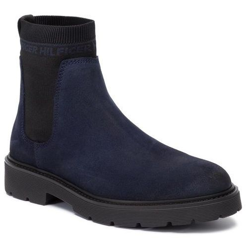 Tommy hilfiger Kozaki - suede cleated chelsea boot fm0fm02532 midnight cki
