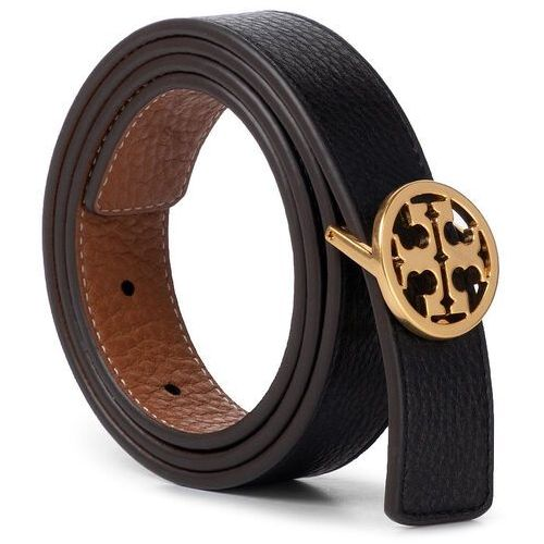 "Pasek Damski TORY BURCH - 1"" Reversible Logo Belt 56643 Black/New Cuoio/Gold 004"