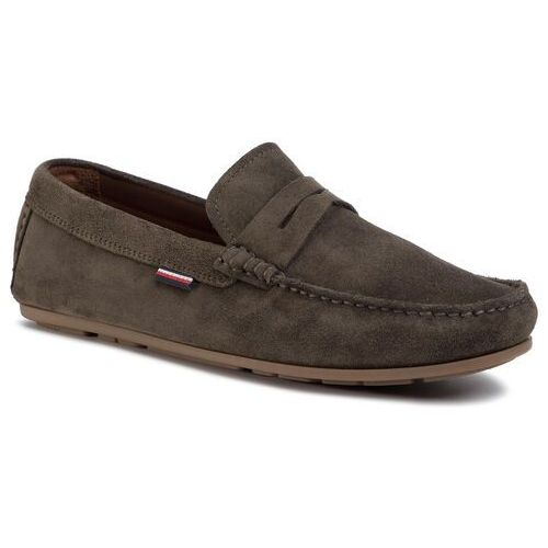 Mokasyny TOMMY HILFIGER - Classic Suede Penny Loafer FM0FM02725 Army Green RBN, kolor zielony