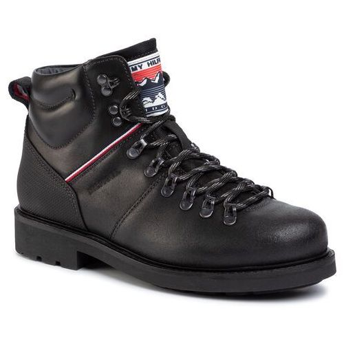 Trzewiki TOMMY HILFIGER - Suede Material Mix Hiking Boot FM0FM02589 Black Blk, kolor czarny