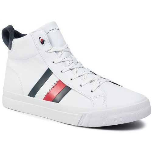 Sneakersy TOMMY HILFIGER - Flag Detail Leather Sneaker High FM0FM02371 White 100