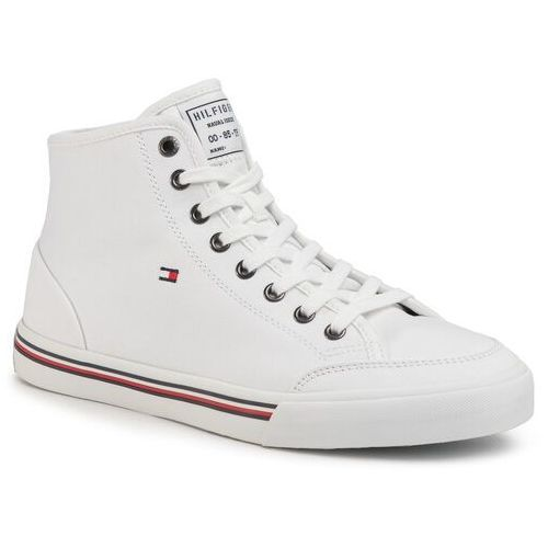 Sneakersy - core corporate high textile snk fm0fm02825 white ybs marki Tommy hilfiger