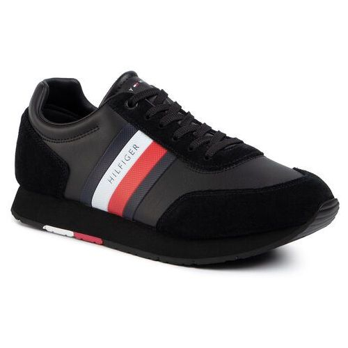 Tommy hilfiger Sneakersy - corporate leather flag runner fm0fm02602 black bds