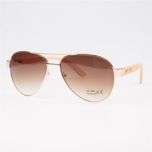 Snowbitch Okulary przeciwsłone - rose gold frame and brown lens natural bamboo (rose gold)