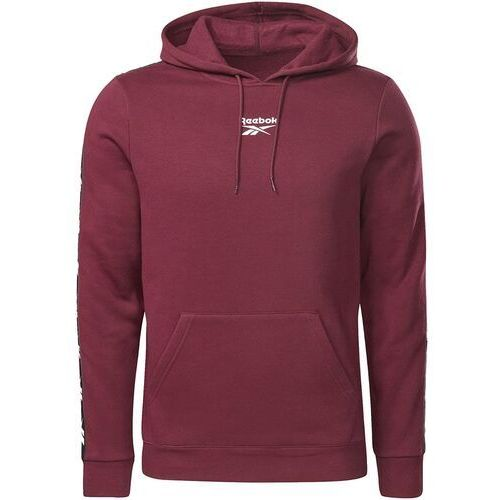 Bluza męska Reebok Training Essentials Tape Hoodie bordowa GQ4214