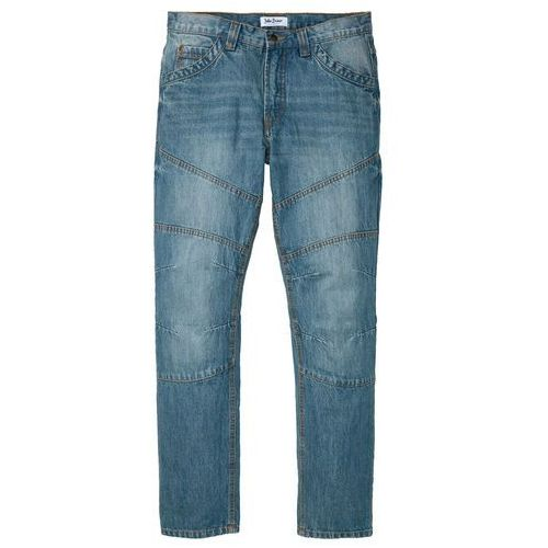 "Dżinsy regular fit straight niebieski ""medium bleached (dirty overdyed"" marki Bonprix"