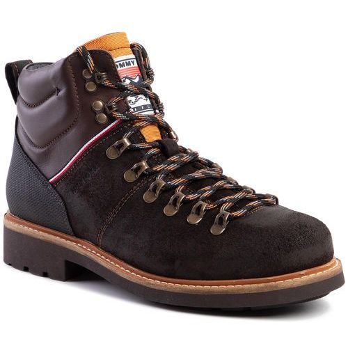 Kozaki TOMMY HILFIGER - Suede Material Mix Hiking Boot FM0FM02589 Chocolate HJT, kolor brązowy