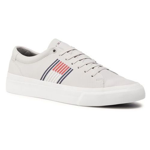 Sneakersy TOMMY HILFIGER - Corporate Leather Sneaker FM0FM02853 Grey Whisper PQU, kolor szary