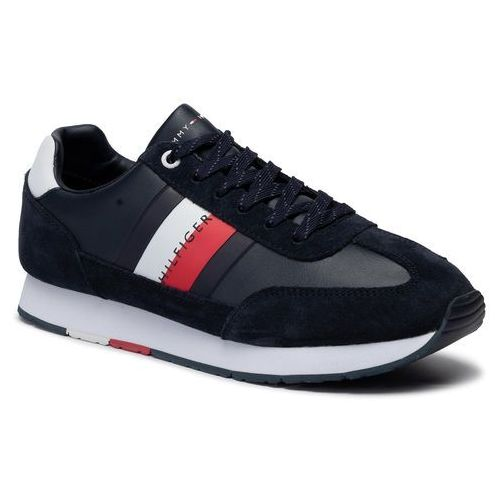 Tommy hilfiger Sneakersy - corporate leather flag runner fm0fm02380 midnight 403